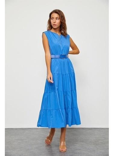 Setre Marina Mavisi Beli Büzgülü Midi Elbise Mavi
